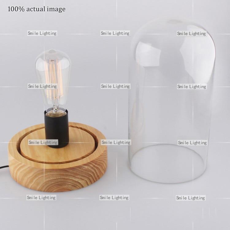 Edison Bulb Table Lamp Classical Nostalgic Industrial Wood+Glass ...