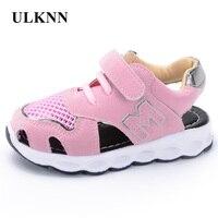 ULKNN Girls Sandals Children Shoes Kids Footwear Beach Shoes Soft Leather Pink Cut Outs Sandals 2017