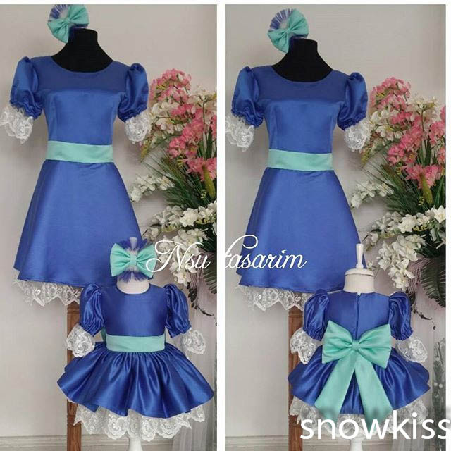2016 Blue flower girl dresses short Sleeves baby Birthday Party Dress toddler Girl pageant Dress ball gowns