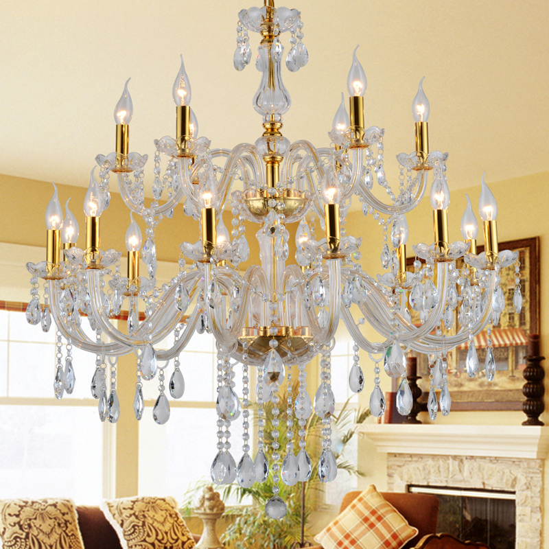 Modern Arm Chandelier: European Gold Crystal Large Chandelier 15/18/12 Arm Luxury