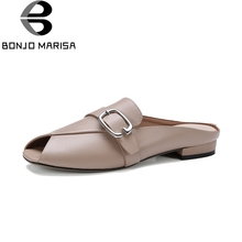 BONJOMARISA 2018 Genuine Leather Chunky Low Heels Peep Toe Slip On Women Shoes Woman Casual Mules