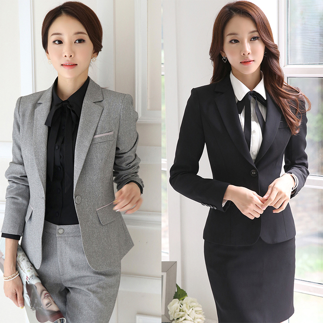 2017 New Arrival Autumn Winter Formal Styles Female Pants With Jackets And Pants OL Professional Career Pants Suits Trousers Set