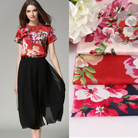 Faux Silk Satin Flower Style Fabrics For Women S Dress Dolls Shabby Chic Bedding Textile Quilting