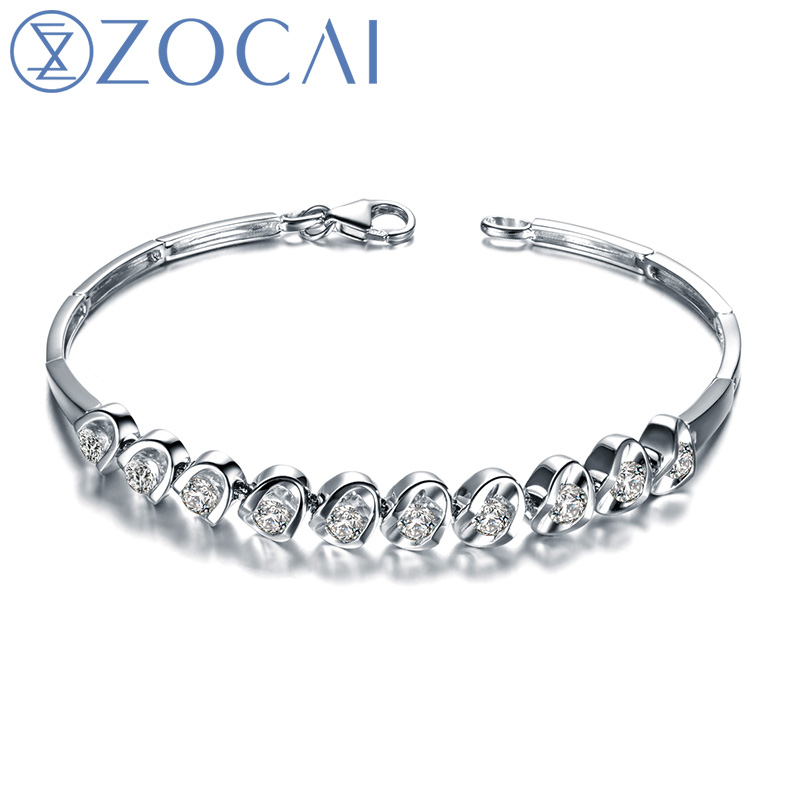 ZOCAI DESIGNER 1.2 CT CERTIFIED DIAMOND 18K WHITE GOLD CHAIN BRACELET JEWELRY BRACELETS BRACLETS BANGLE S00270 цены
