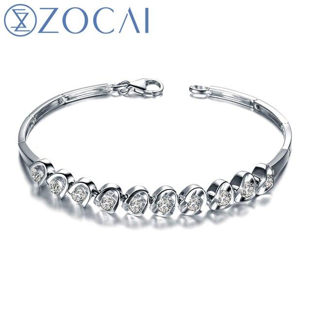 ZOCAI DESIGNER 1.2 CT CERTIFIED SI / I-J DIAMOND 18K WHITE GOLD CHAIN BRACELET JEWELRY BRACELETS BRACLETS BANGLE S00270