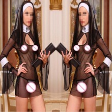 2015 New Sexy Costume Women Cosplay Nuns Uniform Transparent Lingerie Exotic Nun Halloween Costumes Dress Outfit Clothing