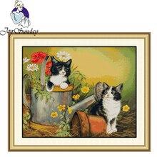 Joy Sunday,Two cats,cross stitch embroidery set,printing cloth kit,cross needleworkanimal pattern cross