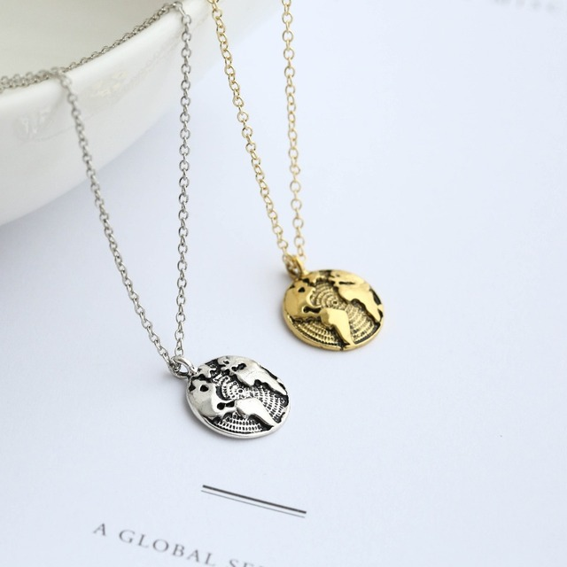 30pcswholesale gold silver 2 color outline globe world map pendant 30pcswholesale gold silver 2 color outline globe world map pendant necklace personality graduation gift earth jewelry gumiabroncs Image collections