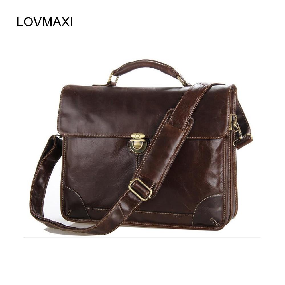 7f54d815b3337 2018 الجديدة الرجال جلد البقر الطبيعي حقيبة يد القهوة التجارية حقيبة كتف  حقيبة رسول