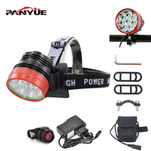 PANYUE LED Headlamp 8000LM Powerful Head Front light for bike 2 in 1 Function 8*T6 3 Mode Rechargeable Torch flashlight Set