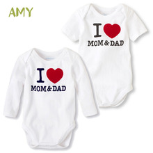 New born baby clothes bebe Romper girl boy costume for baby Cotton printing I LOVE MOM&DAD infant jumpsuits for baby clothing
