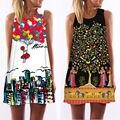 3D Print vintage vestido de verano 2016 de bohemia de la playa vestido de verano vestidos de las mujeres vestidos dashiki hippie de boho vestidos tallas grandes