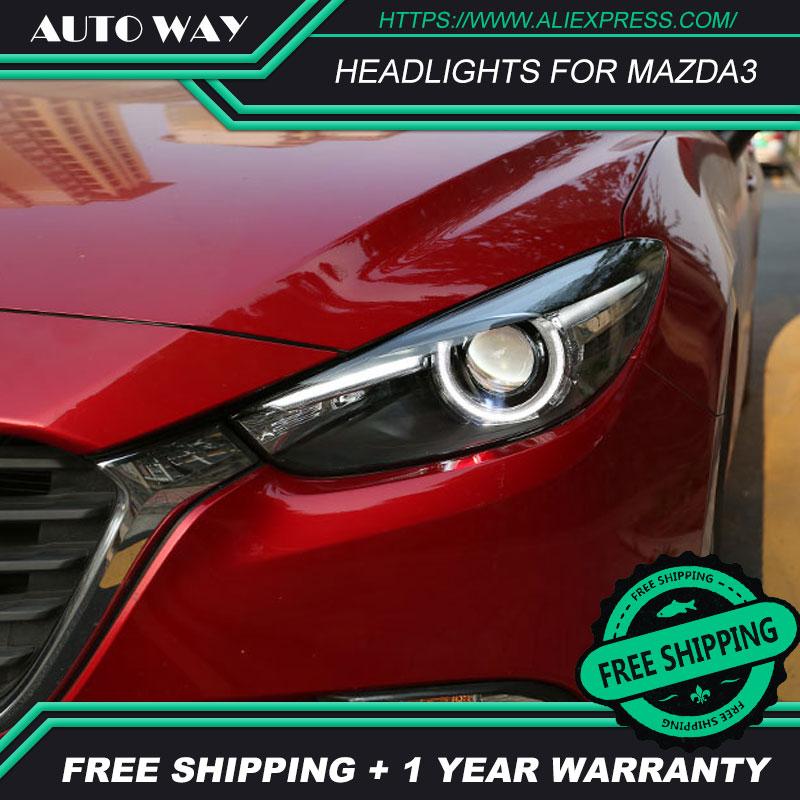 カースタイリング Led HID LED ヘッドライトヘッドランプケースマツダ 3 Mazda3 ヘッドライトアクセラ M3 2014 2015 2016 バイキセノンレンズ低ビーム  グループ上の 自動車 &バイク からの カーライトの組み立て の中 3