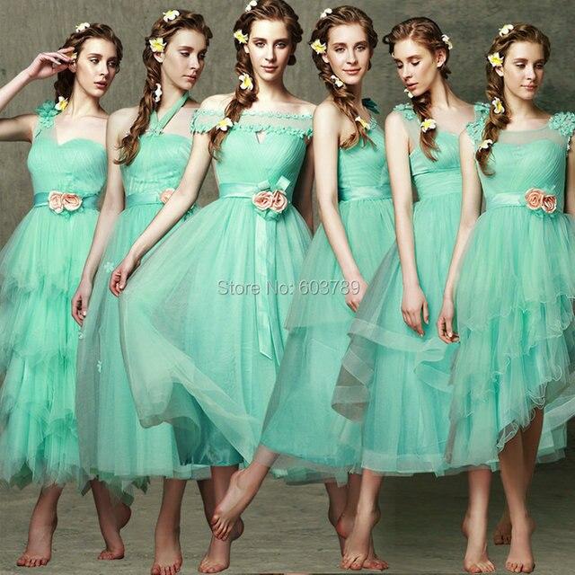 New Elegant Light Green Mid Calf Length Bridesmaid Dresses Wedding Party 6 Styles In