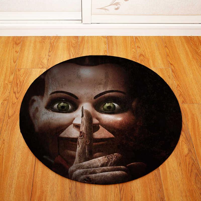 Okrągłe dywany dla pokoju gościnnego Horror dla lalek drukowane salon sypialnia krzesło dywaniki do kąpieli wc dekoracji wycieraczka do butów antypoślizgowa