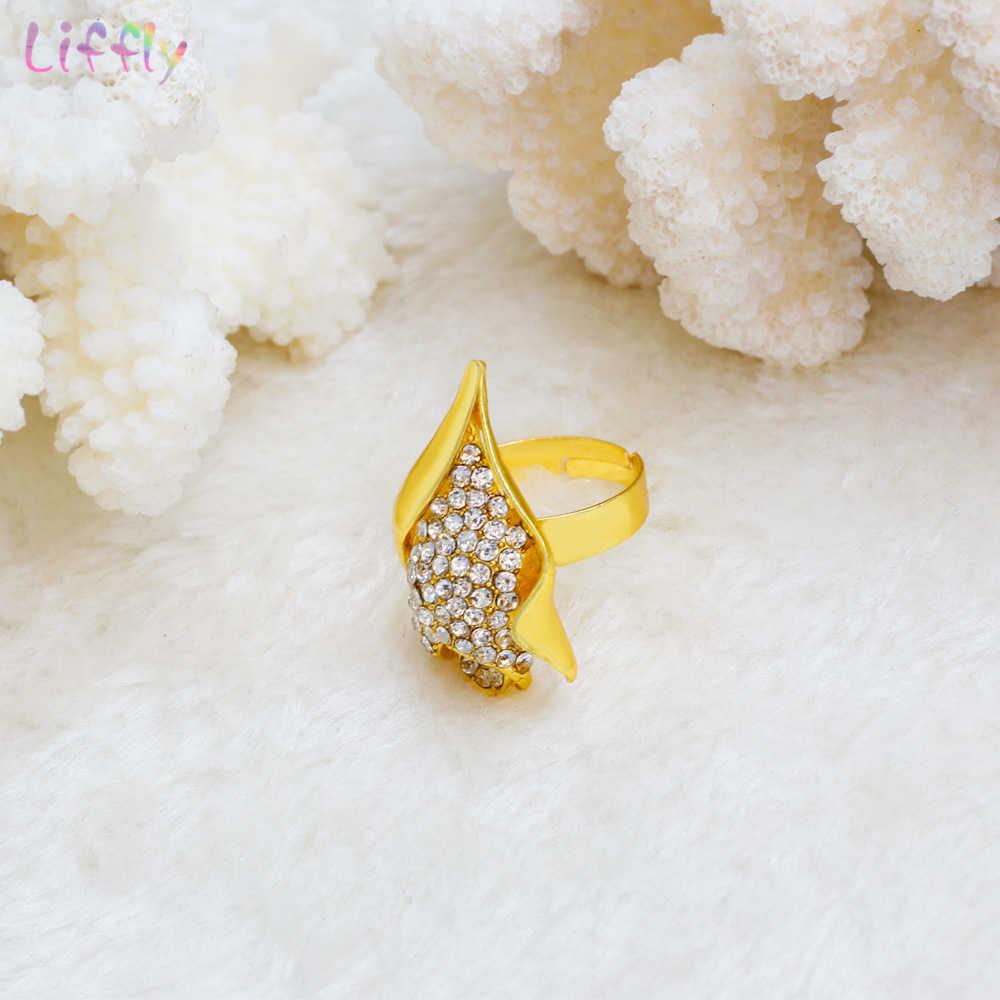 Liffly Nigerian Braut Schmuck Set Blume Anhänger Halskette Set Dubai Gold Schmuck Sets für Frauen Afrikanische Hochzeit Schmuck