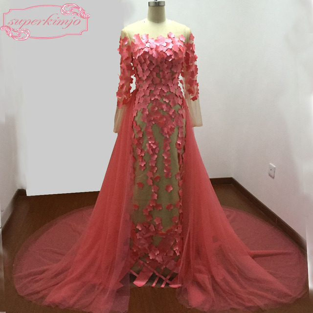 Watermelon Evening Dress Floor Length Court Train with Detachable Train  Hand Made Flowers Mermaid Prom Dresses Coral Real Image 8190380e7