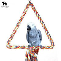 Purple Star Pet Bird Parrot Colorful Cotton Climbing Ropes Chewing Standing Perch Toys Parakeet Gray Macaw
