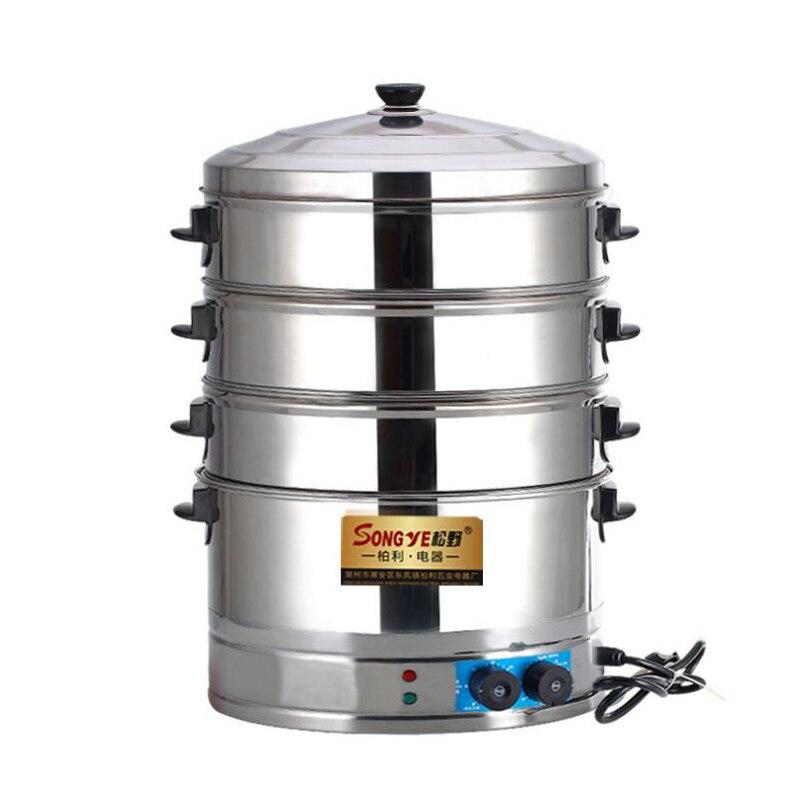 Cuiseur à vapeur électrique Commercial en acier inoxydable cuisinière à trois trous à la vapeur brioches Machine à pain à la vapeur 3 trous Pot électrique SYZ