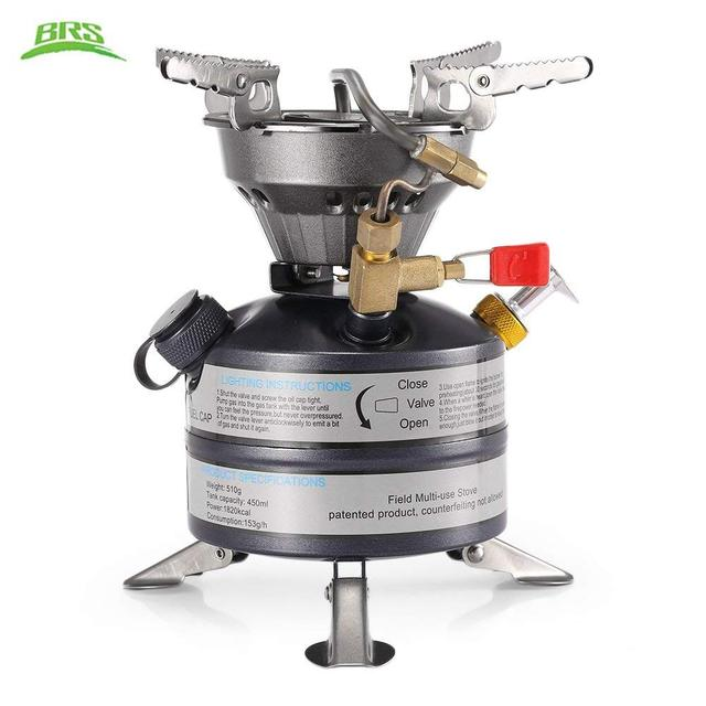 BRS-12A Oil & Gas Camping Stove Gasoline Burner Outdoor Cooker Picnic Cookout  Stove Hiking Equipment Butane Blaze