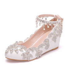 Crystal Rhinestone Shoes Women Wedges High Heel Handmade White Wedding Pumps Round Toe Party Ankle Strap Shoes XY-A0168 white color wedding bride dress shoes thin high heel party prom shoes handmade rhinestone women pumps plus size xy a0198