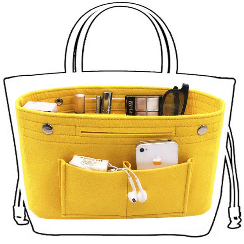 Obag Felt Cloth Inner Bag Women Fashion Handbag Multi-pockets Cosmetic Storage Organizer Bags Luggage Bags Accessories