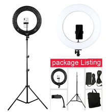 Photo Studio 18 LED 2700-5500K 48W 480PCS LED Selfie Video Light Ring Light Dimmable Photographic Lighting with 200CM Tripod samtian video light tl 600s 2sets led video photo studio light kit dimmable 600pcs led panel lamp with tripod for photographic