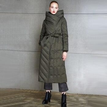 Original Design 90% white duck down womens winter jacket Fashion belt slim and simple style warm plus size parkas large overcoat