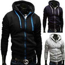 M-3XL 2016 Brand New Fashion Men's Hoodie Zipper Hip Hop Sweatshirt Hit Color Mens Hoodies Casual Fleece