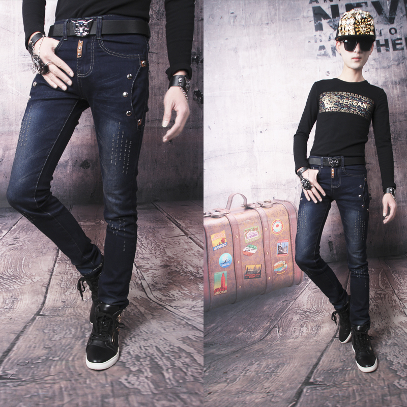 Hot sell Free shipping Deep blue personalized slim personality rivet skinny jeans mens trousers classic casual