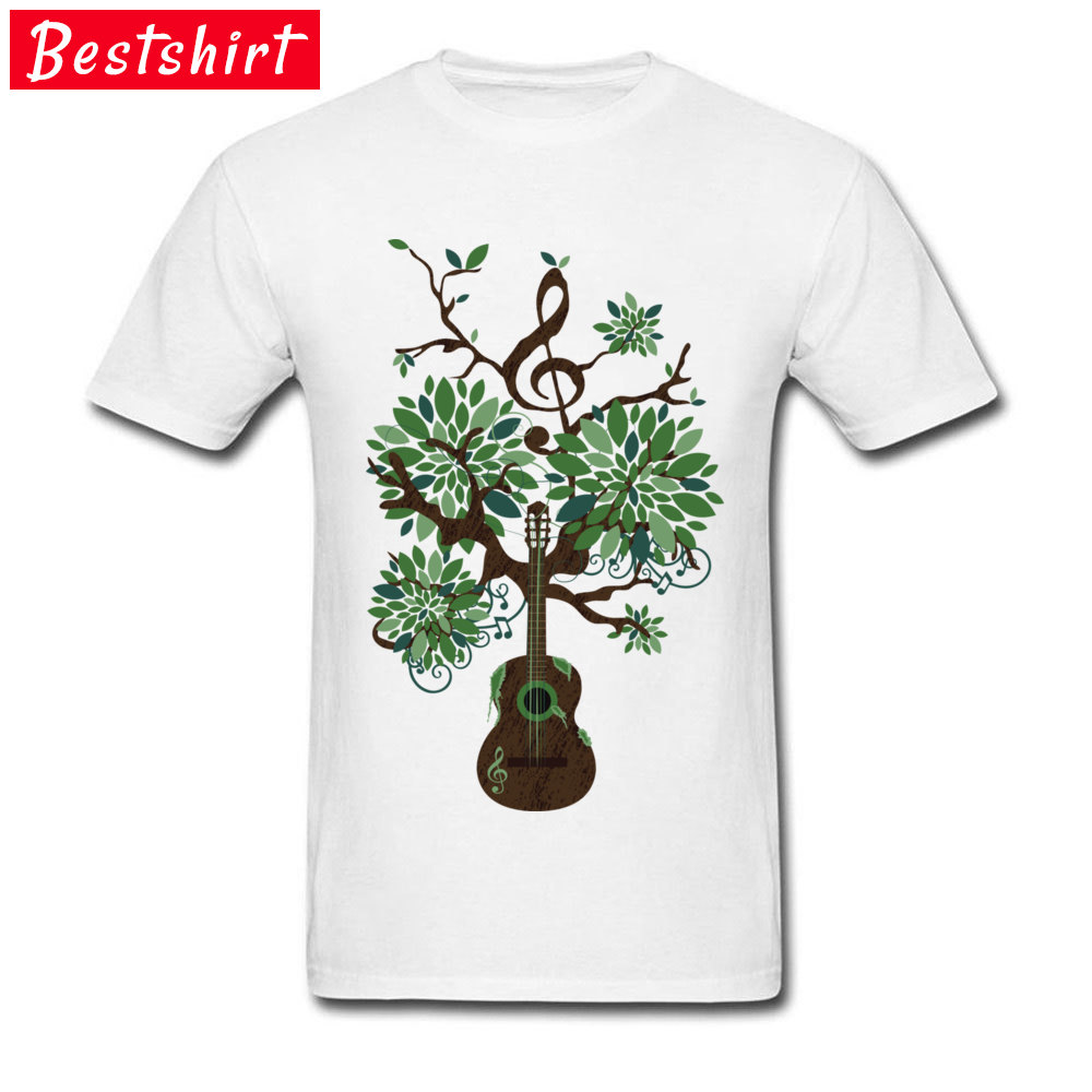 Music Guitar Tree Note Art Tshirts College Youth Tees Popular White Fashion T Shirts Men Classic Electric The Song Of Life image