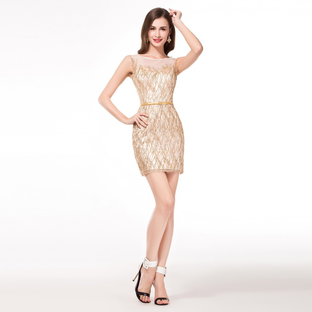 Tight gold homecoming dress