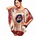 Mulheres Pijamas de Seda Camisola Teste Padrão Do Vintage Print Mujer 2016 Marca o Verão Novas Vestes Femme Big Plus Size Terno: L ~ 3 XXXL, 4XL, 5XL