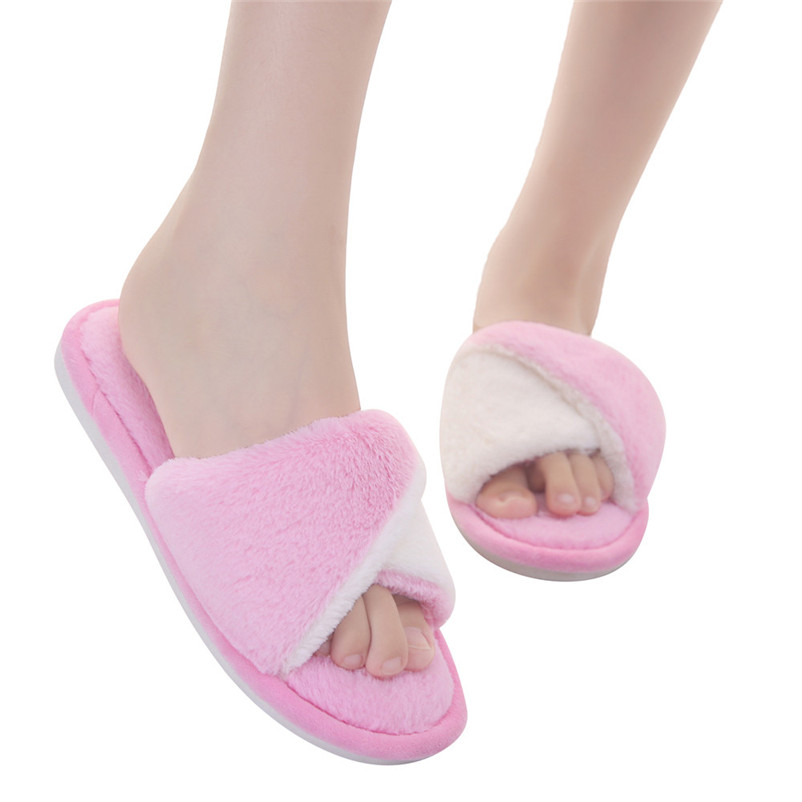 Winter Fashion Women Home Slippers Cross Faux Fur Warm Shoes Woman Slip on Flats Female Fur Flip Flops Slippers Plus Size #40A brand women flats shoes real rabbit fur slippers plus size winter autumn warm female flat heel slip shoes casual home slippers30