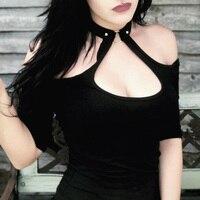 Women Sexy Gothic T Shirt Open Shoulder Club Black Summer Slim T Shirt Coker High Neck Low Cut Rivets Punk Style Backless Tops