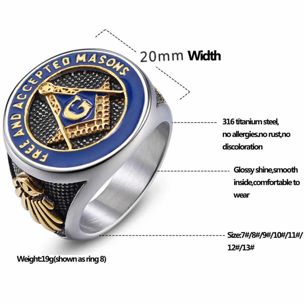 Кольца панк для мужчин аксессуары из нержавеющей стали модные ювелирные изделия религия масонский начальный большой Domineering Винтаж палец мужское кольцо