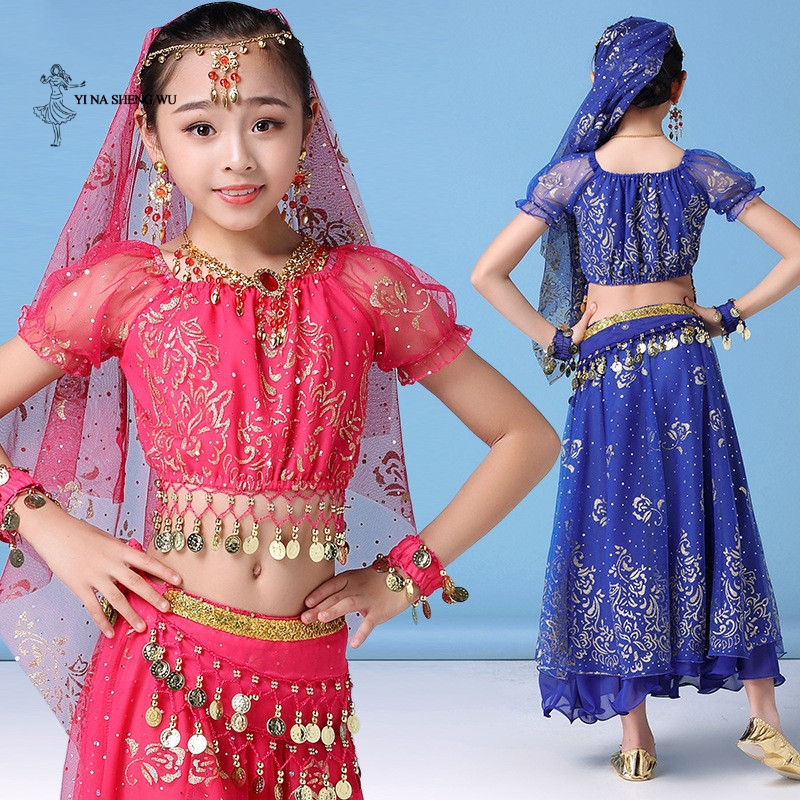 Childern Girl Belly Dance Costume Dress <font><b>Indian</b></font> Oriental Dance <font><b>Sari</b></font> Bollywood Bellydance Suit Performance <font><b>kids</b></font> Coins Top Belt image