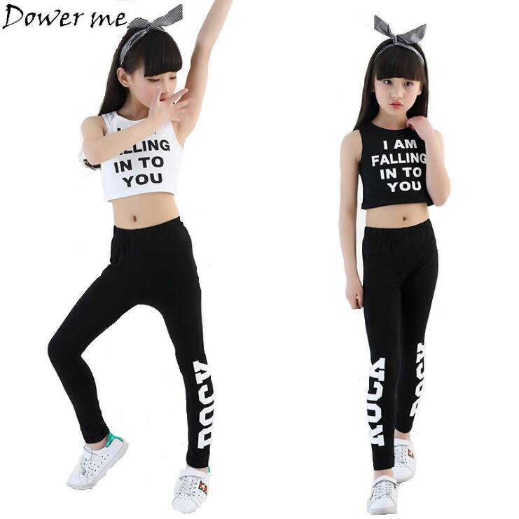 Kids Letter Crop Tank Tops Legging Two Pieces Set For Girls Summer Style Teenage Girl Hip Hop Clothing 10 12 14 16 18 Years