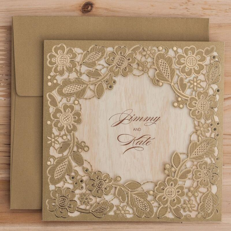 50pcs/pack New Arrival Gold Flowers Wedding Invitations Cards with Envelopes Laser Cut Invitation Card for Birthday Party 50pcs pack laser cut wedding invitations cards elegant flowers free printing birthday party invitation card casamento