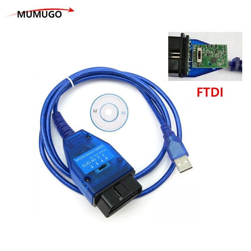 Avec FTDI Puce Auto Voiture Obd2 Câble De Diagnostic pour VAG USB 409 VAG KKL Fiat VAG USB Interface De Voiture Ecu outil d'analyse 4 Way Switch