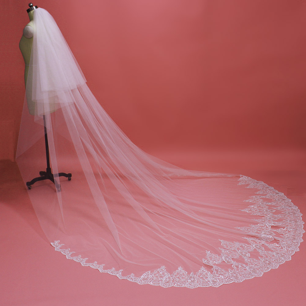 High Quality Neat Sequins Lace Cathedral Wedding Veil With Blusher 2 T Long 3M Bridal Veil Voile Mariage 2019 Bride Accessories