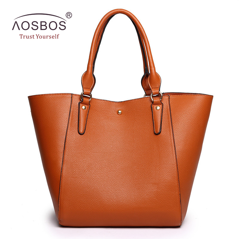 Aosbos Brand Handbag Women PU Leather Bucket Shoulder Bags Female High Quality Solid Handbags Fashion Black Top-handle Bag Tote micocah fashion women shoulder bag 2 colors quality brand handbags for female pu leather gh50007