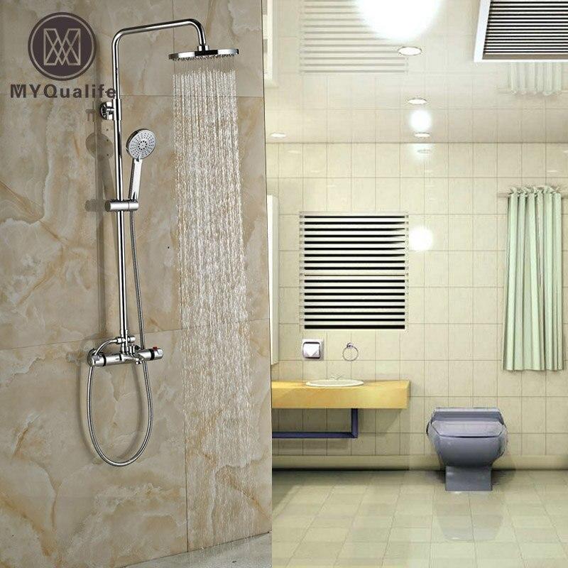 Полированный хром термостатический смеситель для душа набор настенный анти-ожог душ смеситель для душа с ручным душем