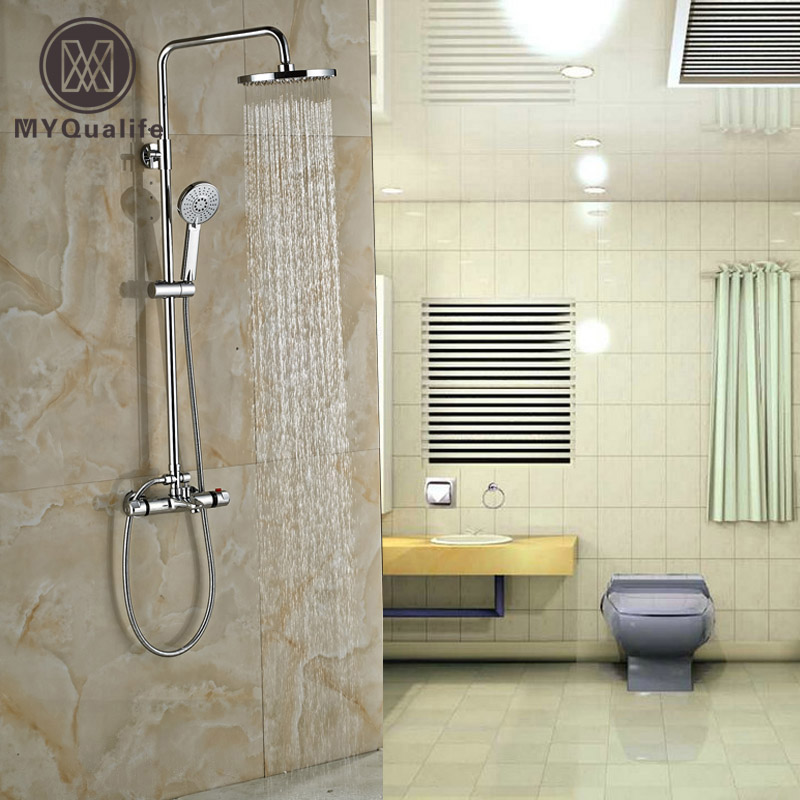 Polished Chrome Thermostatic Shower Faucet Set Wall Mounted Anti-scald Rainfall Shower Mixer Taps with Handshower polished chrome wall mount temperature control shower faucet set brass thermostatic mixer valve with handshower