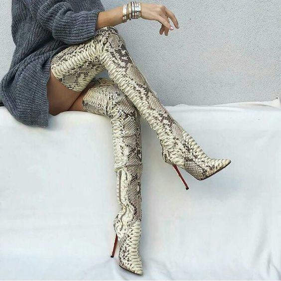 Eunice Choo Over the Knee Thigh High Women Long Boots Sexy Snakeskin  Embossed Leather Prints Pointed Toe High Heels Party Pumps d4e04d7283c9