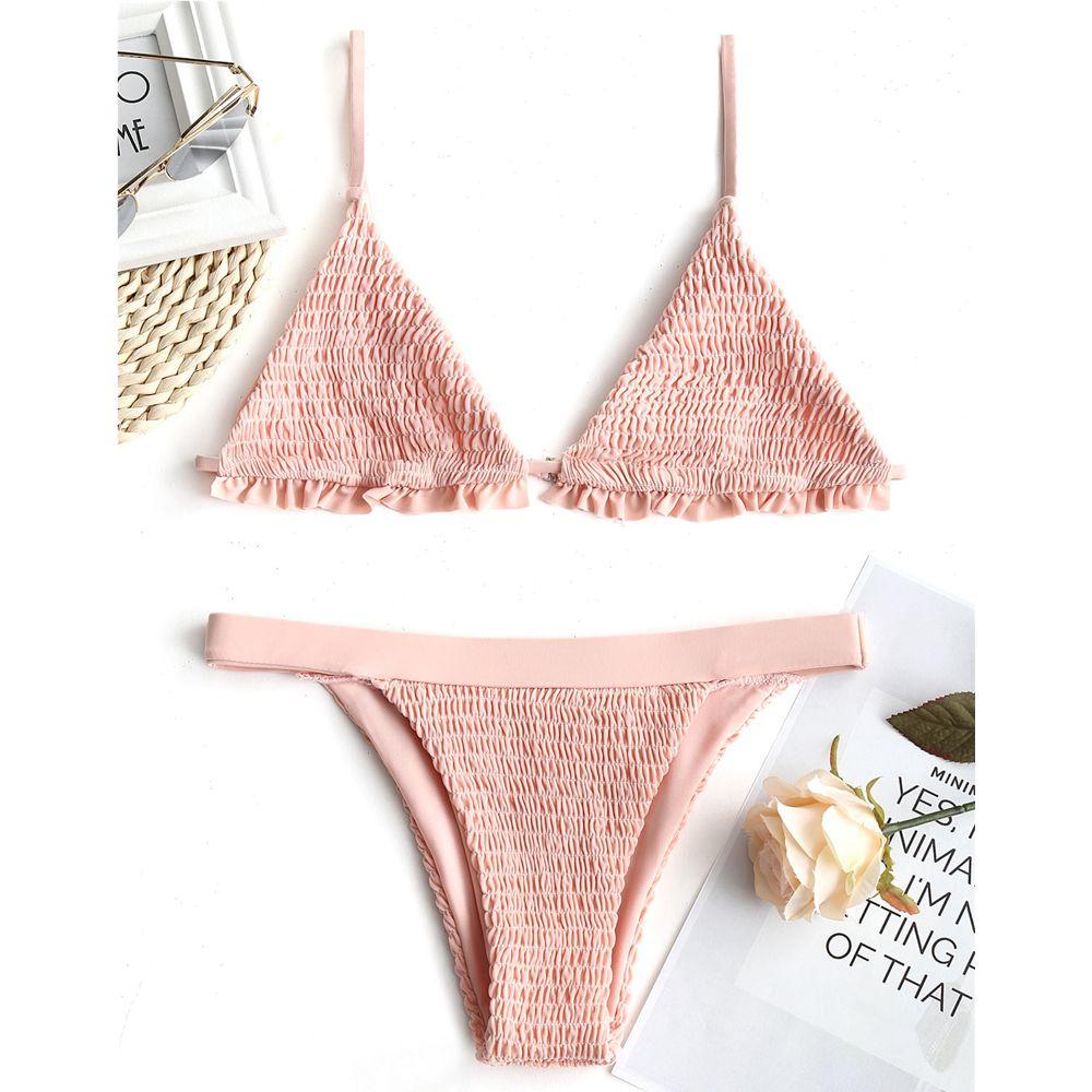 LANGSTAR 2018 New Women Bralette Smocked Ruffles Bikini Set Swimwear Women Swimsuit Spaghetti Straps Sexy Low Waist Bathing Suit smocked waist floral peplum top