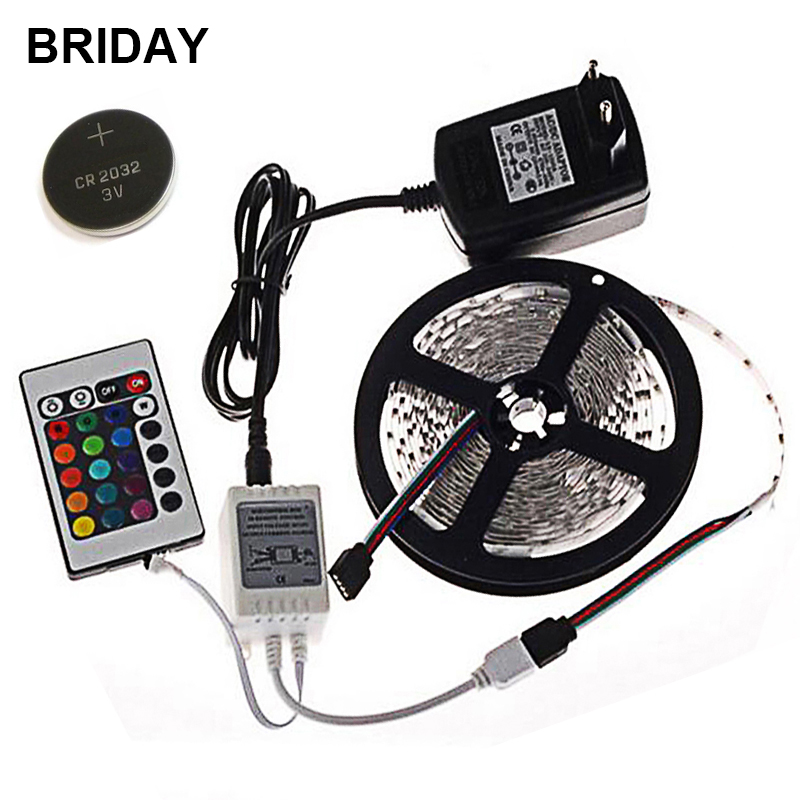 RGB LED Strip Light 5M 300 LEDs with Battery Flexible Light SMD3528 LED Tape DC12V Neon Ribbon Power Supply 2A Remote Controller