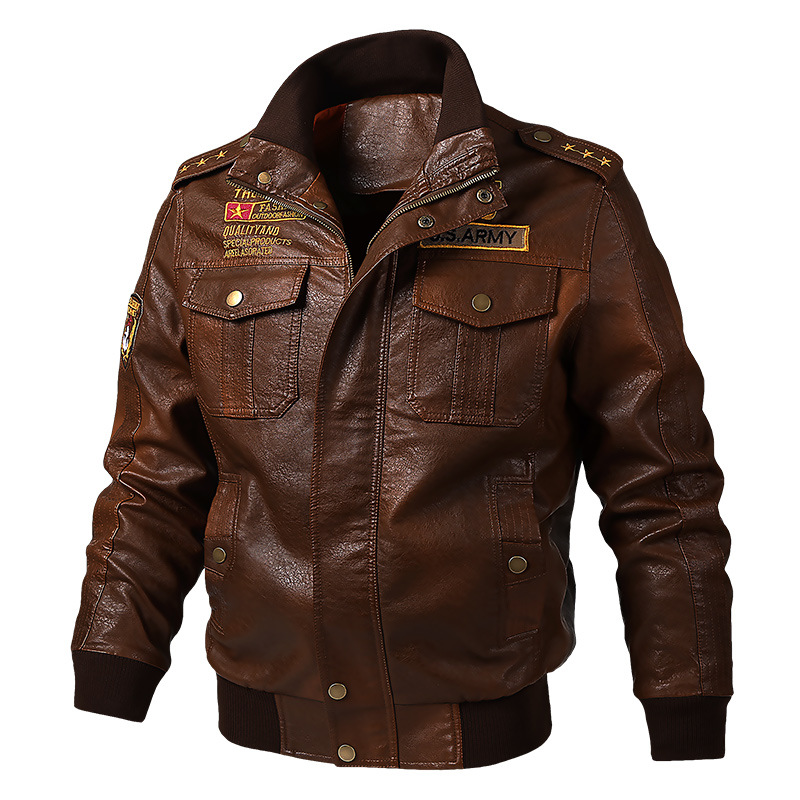 Image 4 - Winter Leather jacket Coat Winter Warm Leather Outerwear Zipper PU Bomber Jacket Stand Collar Motorcycle Harajuku Streetwear Hot-in Faux Leather Coats from Men's Clothing