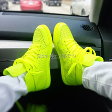 Luxury Lovers shoes fluorescence green and Neon yellow is candy colors high top Lace-up Casual men shoes pink for women shoes