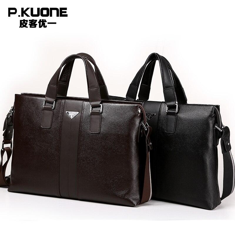 P. kuone 2018 nouvelle mode homme homme commercial véritable mallette en cuir sac à bandoulière messenger sac pochette d'ordinateur M0011